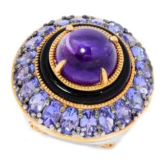 Michael Valitutti Palladium Silver African Amethyst, Black Onyx & Tanzanite Halo Ring