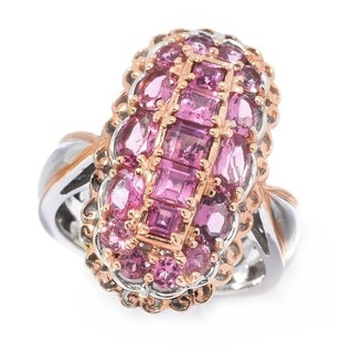 Michael Valitutti Palladium Silver Pink Tourmaline Elongated Cluster Ring