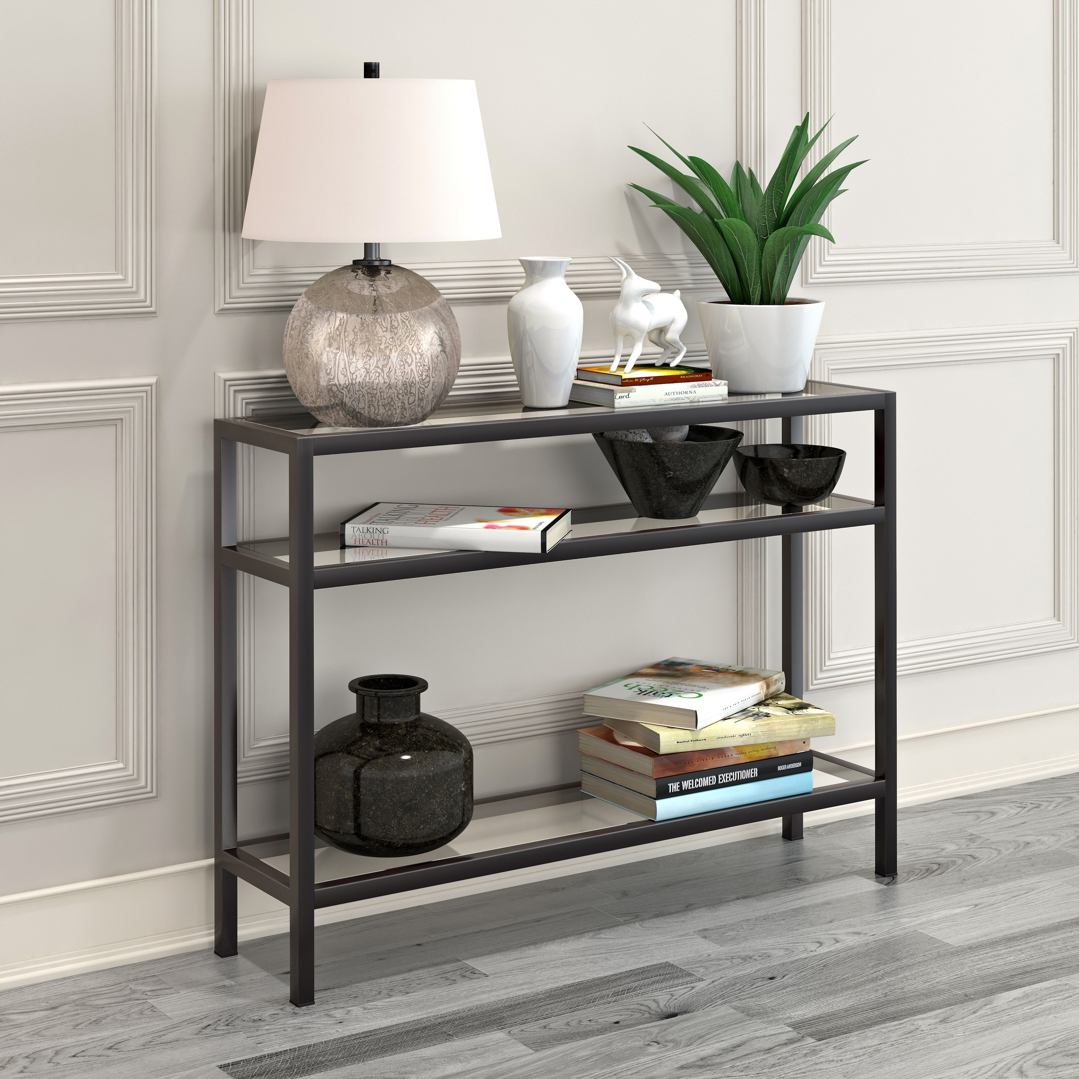 Sivil Rectangular Contemporary Metal Gl Console Table In Blackened Bronze