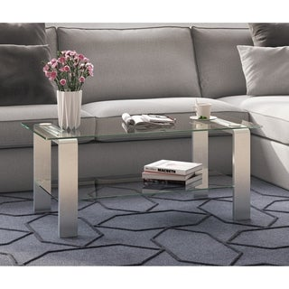 Asta Metal & Glass Coffee Table in Silver Nickel Finish
