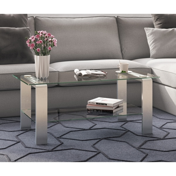 Silver Metal And Glass Coffee Table: Shop Asta Metal & Glass Coffee Table In Silver Nickel
