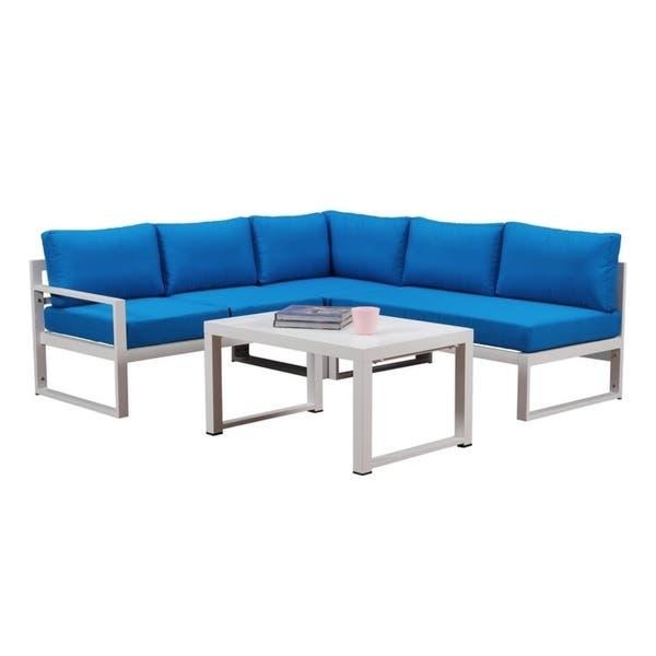 Super Shop Broyerk 4 Piece Outdoor Aluminum Patio Furniture Blue Dailytribune Chair Design For Home Dailytribuneorg