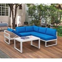 BroyerK 4-piece Outdoor Aluminum Patio Furniture Blue Set Lounge Chair