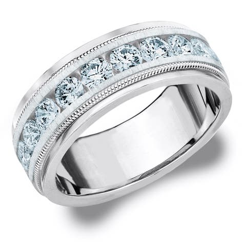 Amore Platinum Men's 2.0 CT Milgrain Edge Diamond Wedding Band