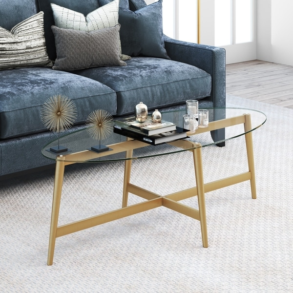 Gold Outdoor Coffee Table: Shop Olson Oval Gold Finish Metal Coffee Table With Glass