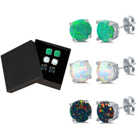 Rhodium Plated & Lab-Created Colorful Opal Stud Earrings - 3pcs Set