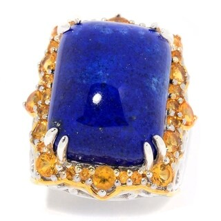 Michael Valitutti Palladium Silver Lapis Lazuli & Citrine Halo Ring