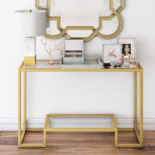 Silver Orchid Spira Gold Geometric Console Table