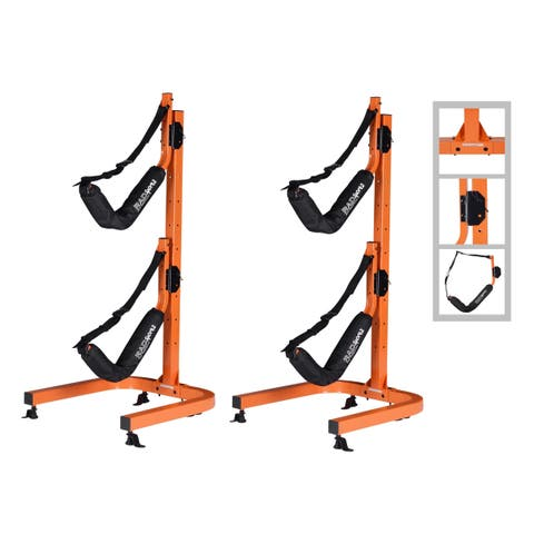 Kayak Double Storage Rack- Self Standing 2 Canoes Kayaks Cradle Set Outdoor and Indoor Use by Rad Sportz