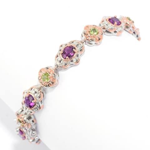 Gems en Vogue Palladium Silver Purple Garnet & Peridot Line Bracelet