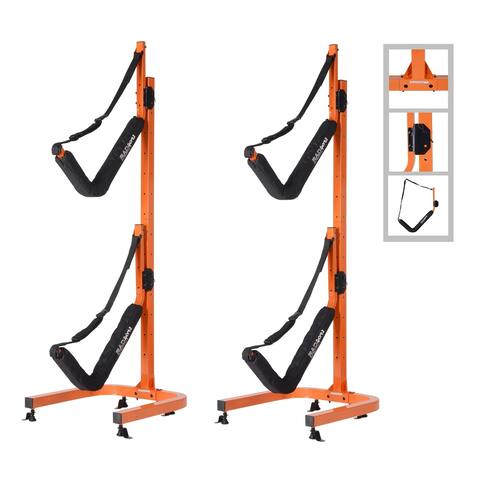 Double Kayak Storage Rack- Self Standing Dual Canoe for Outdoor Indoor Use by Rad Sportz