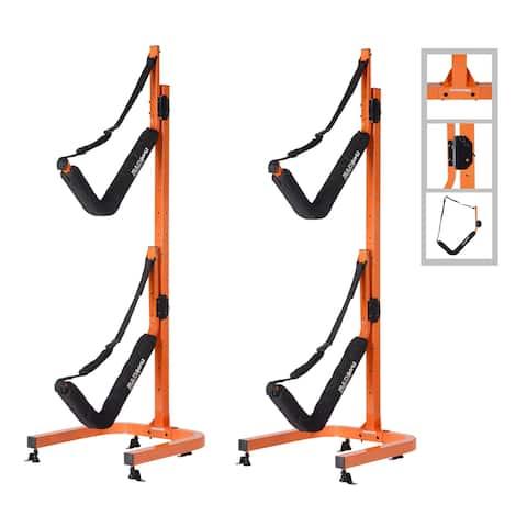 Double Kayak Storage Rack- Self Standing Dual Canoe for Outdoor Indoor Use by Rad Sportz