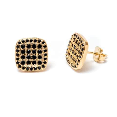 Gold Plated and Black Swarovski Elements Square Stud Earrings