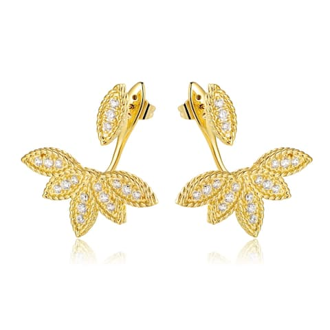 Gold Plated Diamond Accents Ear Jackets