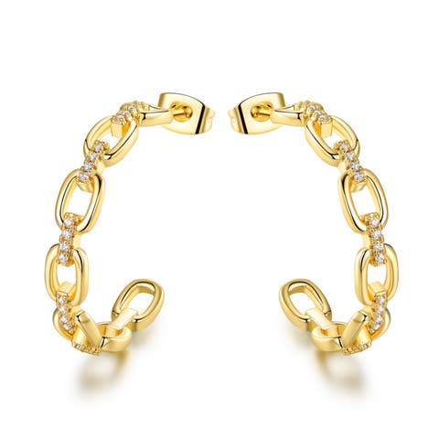 Gold Plated Figarro Chain Shape Hoop Earrings