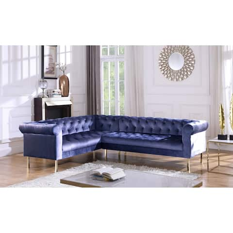 Chic Home Julian Velvet Upholstered Left Facing Sectional Sofa