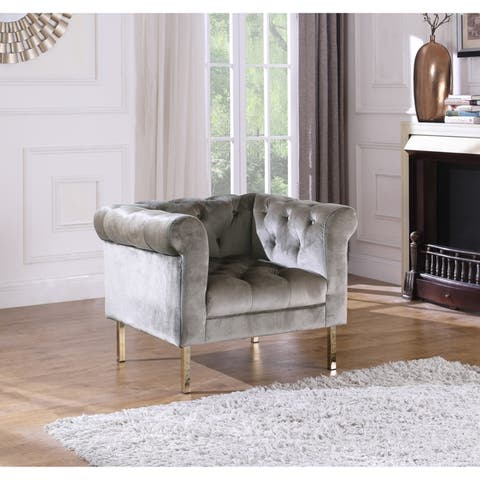 Chic Home Julian Club Chair Velvet Upholstered Button Tufted