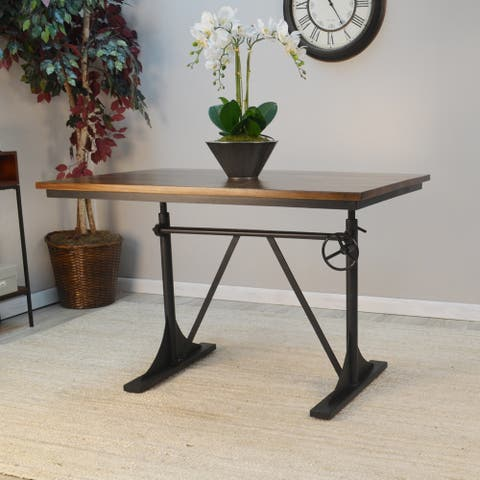 Rhett Adjustable Elm and Black Table - Brown