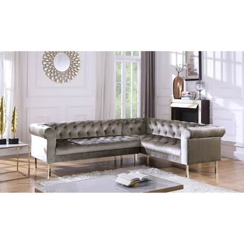 Chic Home Julian Velvet Upholstered Right Facing Sectional Sofa