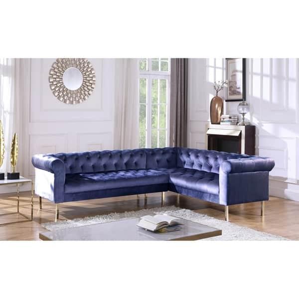 Shop Chic Home Julian Velvet Upholstered Right Facing ...