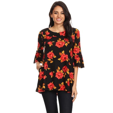 Women's Casual Floral Bell Sleeve Side Pocket Tunic Top