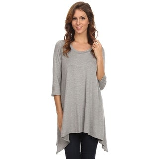 Women's Casual Soft Knit Draped Handkerchief Hem Tunic