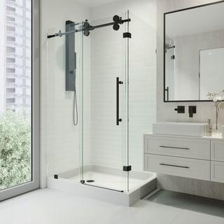 VIGO Winslow Clear Sliding Door Shower Enclosure with Left Drain Base