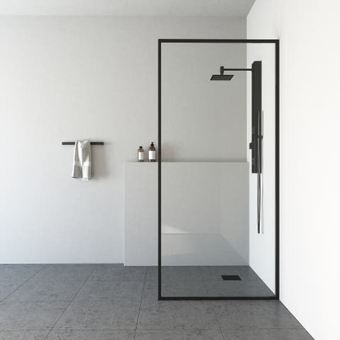 VIGO Meridian Clear 34-inch Fixed Glass Shower Screen