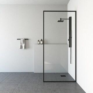 Vigo Meridian Matte Black Fixed Glass Shower Screen