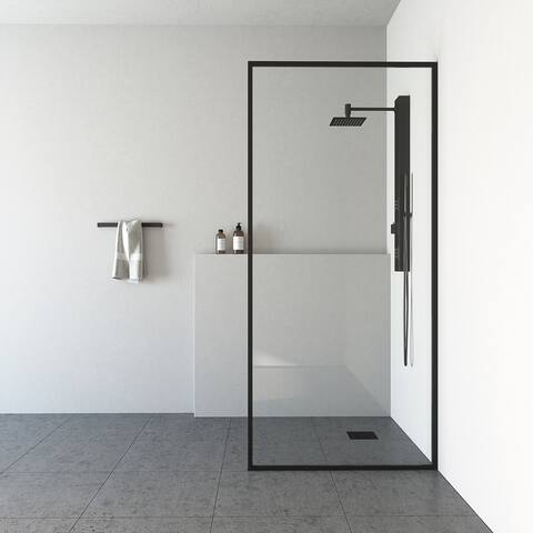 VIGO Meridian Clear 34-inch Fixed Glass Shower Screen