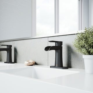VIGO Paloma Matte Black Single Hole Bathroom Faucet with Deck Plate
