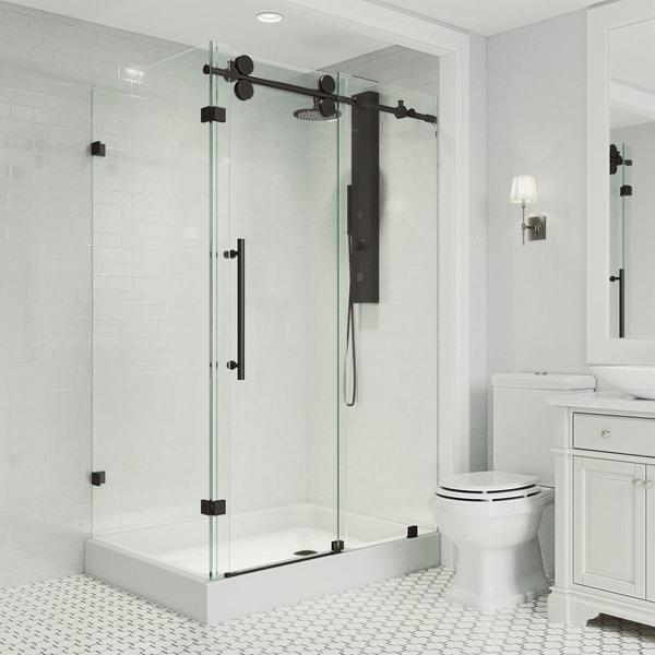 VIGO Winslow Sliding Door Shower Enclosure with Right Drain Base