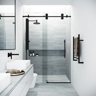 VIGO Elan Clear and Matte Black Frameless Sliding Shower Door