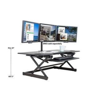 "Rocelco DADR-46 Adjustable Sit to Standing Desk Riser and Converter 46"" Black"