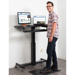 """Rocelco MSD-40 Height Adjustable Mobile Sit to Standing Desk 40"""" Black"""
