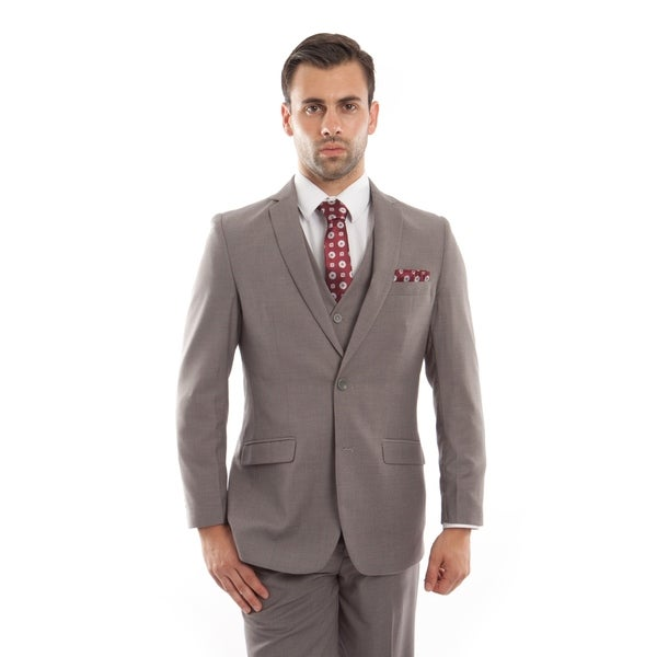 5f14229d2cd Shop Men Suit Dark Tan 3 Pieces Notch Lapel Slim Fit Mens Suits - On Sale - Free  Shipping Today - Overstock - 23134774