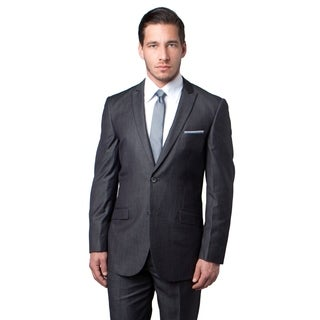 Mens Suit Grey Solid Peak Lapel Slanted Pocket Slim Fit Men Suits