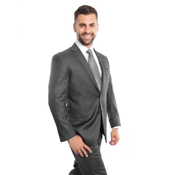 Men Jacket Suit Grey Solid 2 Pieces Notch Lapel Classic Fit Mens Suits