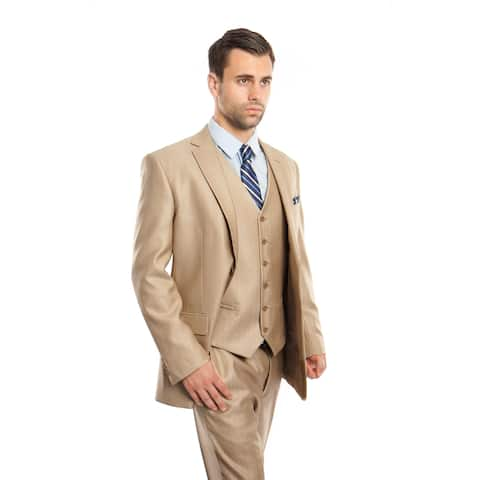 Men Suit Stone Color Solid Texture 3 Pieces Classic Fit Mens Suits