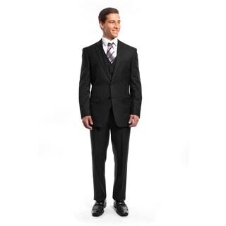 Men Suit Black Pin Stripe 3 Pieces Notch Lapel Classic Fit Suits