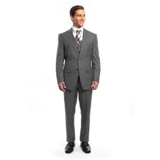 Men Suit Grey Pin Stripe 3 Pieces Notch Lapel Classic Fit Suits
