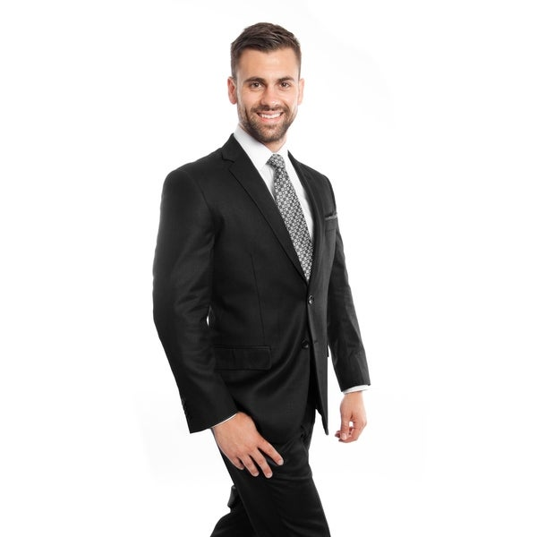 Men Jacket Suit Black Solid 2 Pieces Notch Lapel Classic Fit Mens Suits