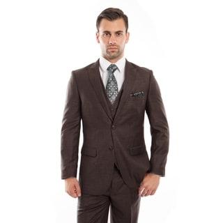 Men Suit Brown Solid Peak Lapel 3 Pieces Slim Fit Mens Suits