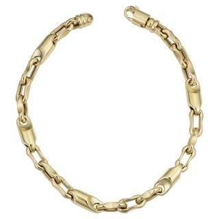 Men's 14k Yellow Gold 6 millimeters Bullet Link Bracelet (8.75 inches)