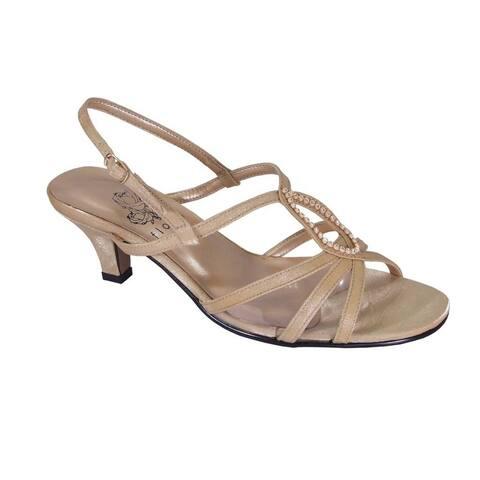 FLORAL Winnie Women Extra Wide Width Strappy Slingback Comfort Heels