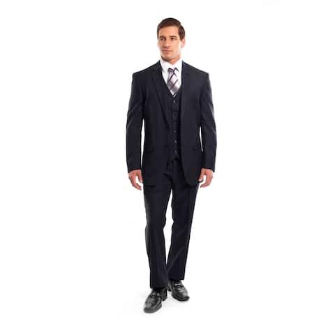 Men Suit Navy Pin Stripe 3 Pieces Notch Lapel Classic Fit Suits