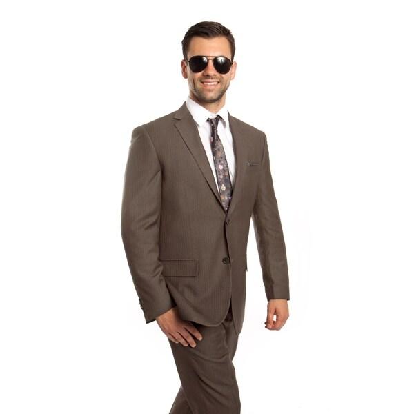 Men Jacket Suit Beige Pin Stripe 2 Pieces Classic Fit Mens Suits