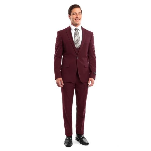 3555e9959f2cfa Shop Men Suit Burgundy 3 Pieces Notch Lapel Rounded Neckline Vest Slim Fit Mens  Suits - On Sale - Free Shipping Today - Overstock - 23134849
