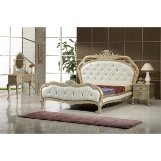 Gold, White and Silver French European Queen Bedroom Set Made from All Solid Mahogany Wood, Includes Bed, 2 Side End Tables,