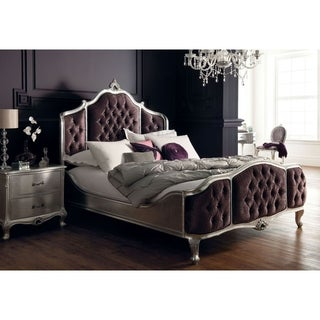 Silver French European Queen Bedroom Set Made from All Solid Mahogany Wood, Includes Bed and 2 Side Tables